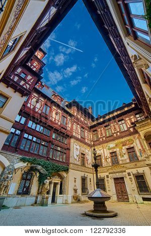 Peles Palace Inner Courtyard in Sinaia Romania.