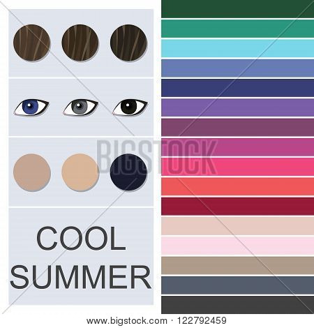 Stock vector seasonal color analysis palette for cool summer type. Type of female appearance