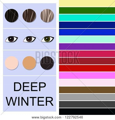 Stock vector seasonal color analysis palette for deep winter type. Type of female appearance