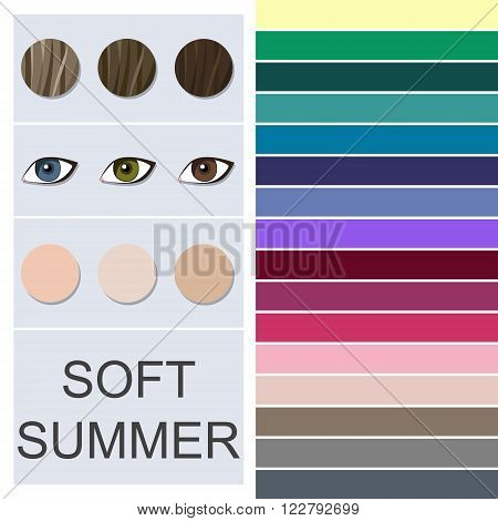 Stock vector seasonal color analysis palette for soft summer type. Type of female appearance