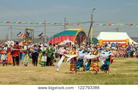 Dancing In Russian And Tatar National Costumes