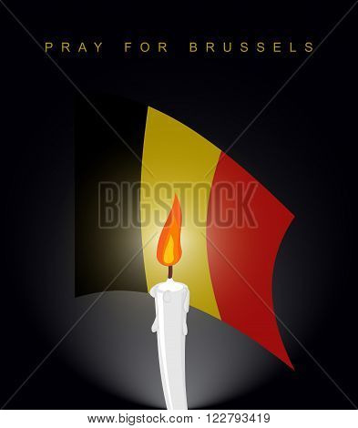Pray For Brussels. Flag Of Belgium. Mourning Figure. Aattack In Belgium. Explosion In Brussels. Whit
