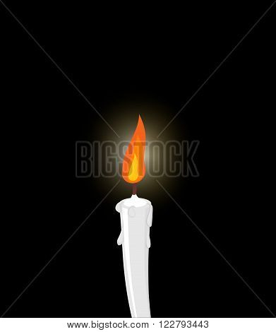 White candle on black background. Grief mourning. Illustration in memory of dead.