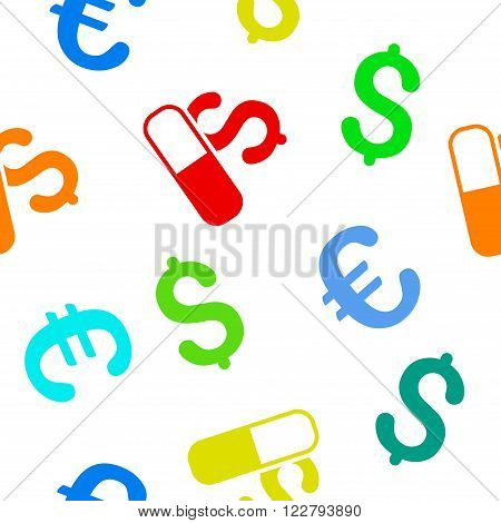 Medication Business vector repeatable pattern with dollar and euro currency symbols. Style is flat colored icons on a white background.