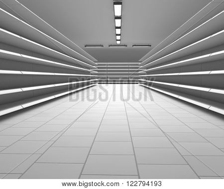 Empty white supermarket shelf rows 3D render.