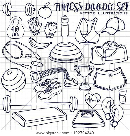 Hand drawn fitness doodle set. Sqared notepad page. Vector illustrations