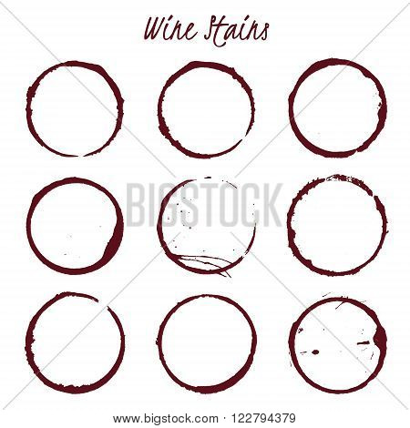 Set of spilled wine stains spots rings Isolated on white background vector illustration
