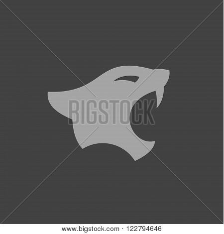 Panthers head with open mouth in minimalism flat logo sign illustrations art