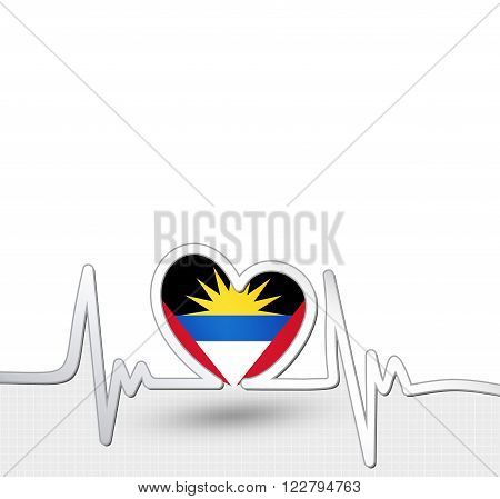 Antigua and Barbuda flag heart and heartbeat line.Patriotic vector background.