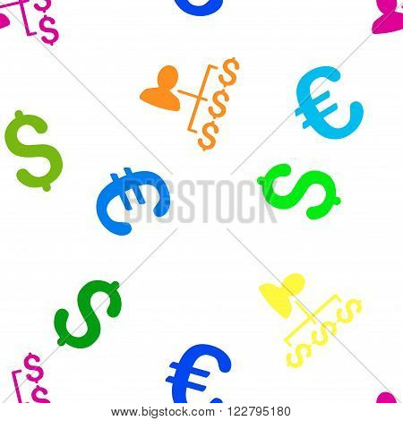 Payer Relations vector repeatable pattern with dollar and euro currency symbols. Style is flat colored icons on a white background.
