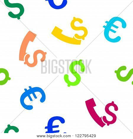 Payphone vector repeatable pattern with dollar and euro currency symbols. Style is flat colored icons on a white background.