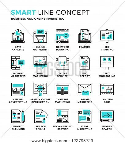 Set of modern thin line icon collection concept of Seo , Digital marketing ,Online marketing ,Research and Analysis. Pixel perfect icon design for Web Graphic , Mobile app ,Vector Design illustration.