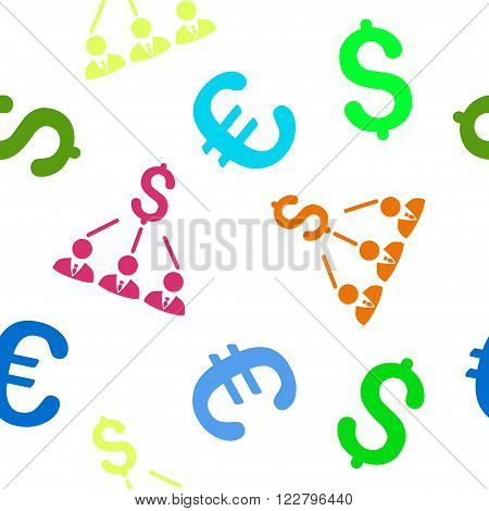 Shareholders vector repeatable pattern with dollar and euro currency symbols. Style is flat colored icons on a white background.