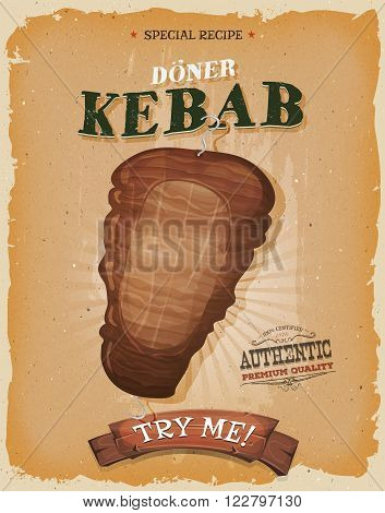 Illustration of a design vintage and grunge textured poster with appetizing cartoon fast food kebab meat icon for eastern and oriental takeout restaurant menu