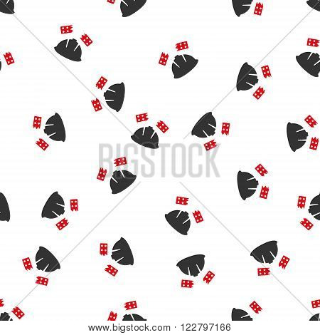 Brick Helmet Accident vector seamless repeatable pattern. Style is flat red and dark gray brick helmet accident symbols on a white background.