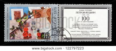 SOVIET UNION - CIRCA 1978 : Cancelled postage stamp printed by Soviet Union, that shows painting by Petrov Vodkin.