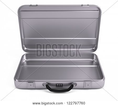 Opened Metal case isolated on white background