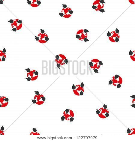 Earth Disasters vector seamless repeatable pattern. Style is flat red and dark gray earth disasters symbols on a white background.
