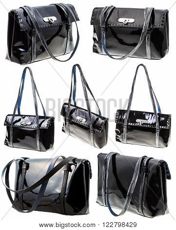 Set From Black Patent Leather Ladies Bag Isolated