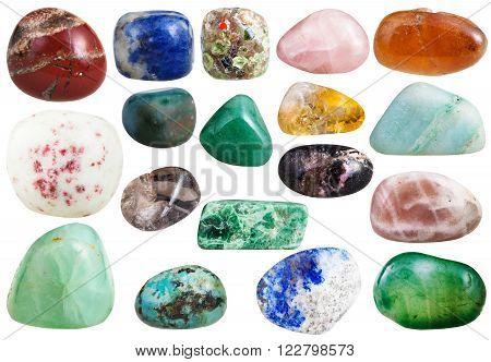 moonstone, agate, sodalite, turquoise, jasper, cinnabar, quartz, citrine, aventurine, rhodonite, chrysolite, bloodstone, jadeite, lapis lazuli, spessartine, aragonite, prehnite, gemstones on white