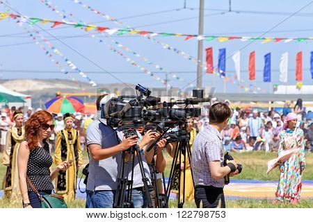 Journalists With Cameras And Video Cameras At The All-russian Rural Sabantuy