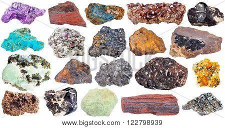 set of mineral stones isolated on white:  spinel lazulite magnetite chrysocolla wolframite limonite goethite ferruginous quartzite jaspillite hematite lavrovite graphite basalt spessartine corundum stichtite prehnite epidote