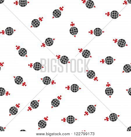 Global Guard vector seamless repeatable pattern. Style is flat red and dark gray global guard symbols on a white background.