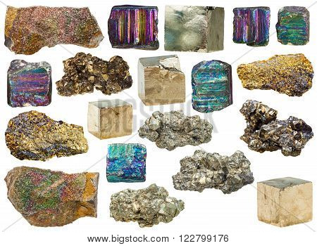 set of various pyrite mineral stones and crystals isolated on white background
