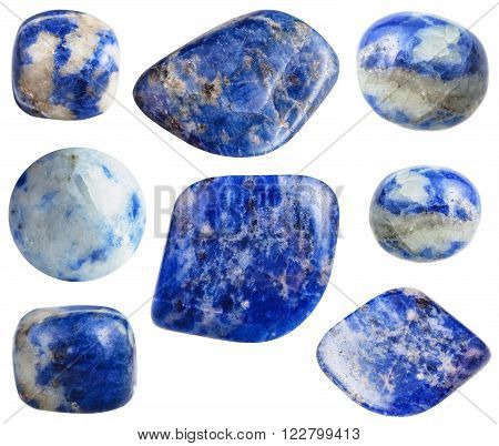 set of blue Sodalite gemstones isolated on white background