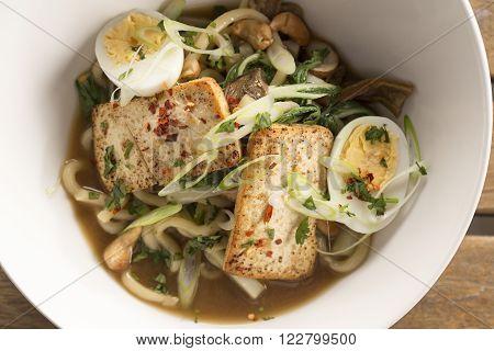 Oriental wild mushroom, tofu & noodle ramen