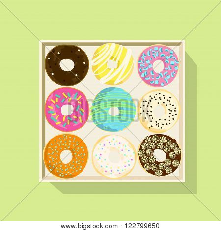 Donut vector illustration. Donut isolated on a light background. Donut icon in a flat style. Donuts into the glaze set. Collection of sweet donuts isolated. Donuts icing sugar.
