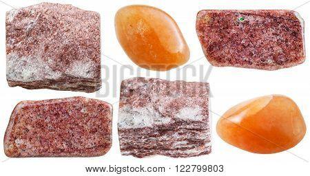 Set Of Pink Aventurine Rocks And Polished Gemstone