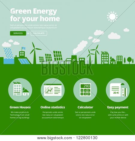 Green energy supplier. Water, solar, geothermal & wind power plants illustration website banner with services icons.