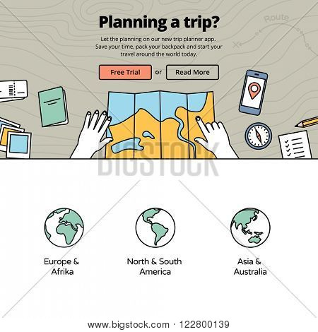 Planning a trip with a trip planner application. Travel preparation on wooden desk - vector illustration. Services for one page website design.