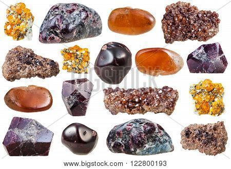 set of varuous garnet crystals and gemstones isolated on white background