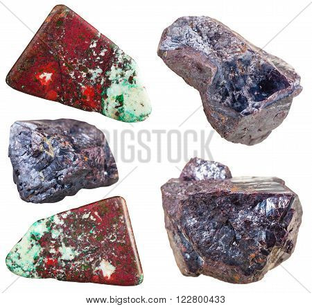 Set Of Cuprite Mineral Stones And Gemstones