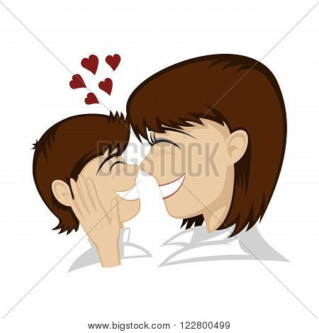 Lovin' mommy collection - A little brunette boy and brunette mother's faces (mother caresses).