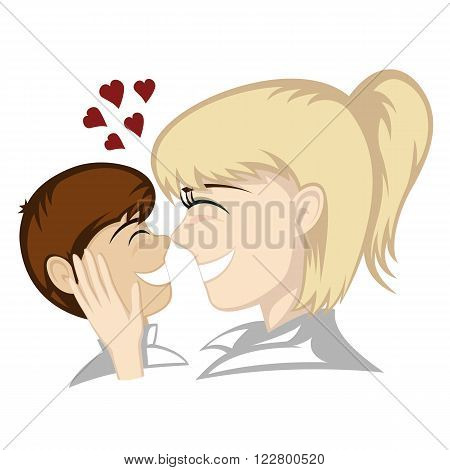 Lovin' mommy collection - A little brunette boy and blonde mother's faces (mother caresses).