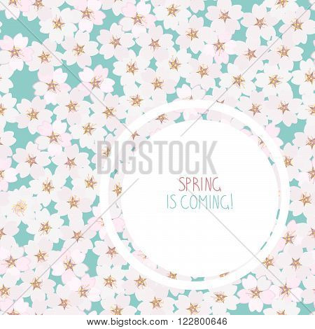 'Spring is coming!' postcard. Cherry blossom. Sakura flowers. Endless floral background with copy space. Hanami. Japanese Culture. Cherry blossom viewing. Can be used as seamless pattern.