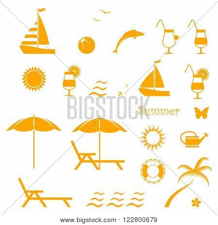 collection of vector summer icons isolated on white background