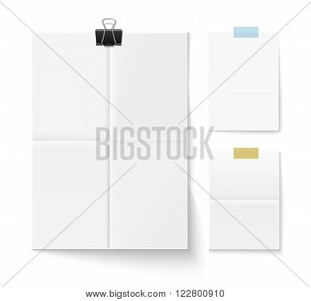 Folded paper sheet with shadow and paper clip isolated on white. Set of three white sheets of paper. Realistic vector illustration of paper sheets.