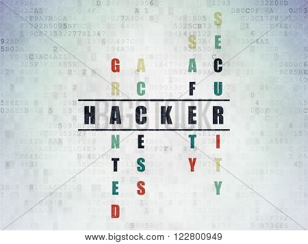 Protection concept: Hacker in Crossword Puzzle
