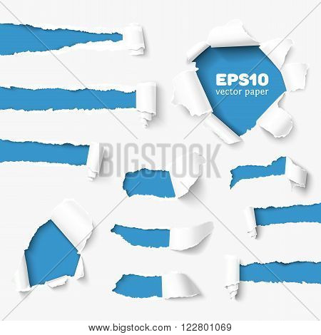 Set of holes in white paper with torn sides over paper background with space for text. Realistic vector torn paper with ripped edges. Torn paper banner for web and print. Torn paper template. Damaged torn paper for design.