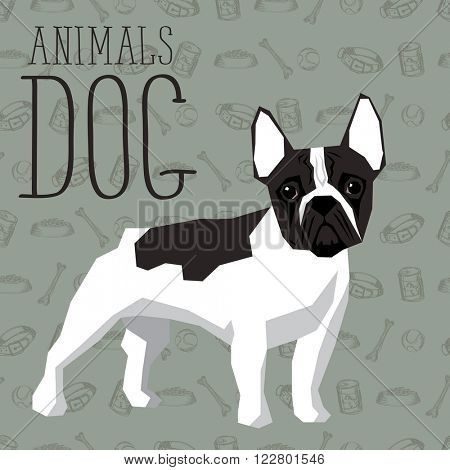 Vector geometric dogs collection with seamless background. French Bulldog