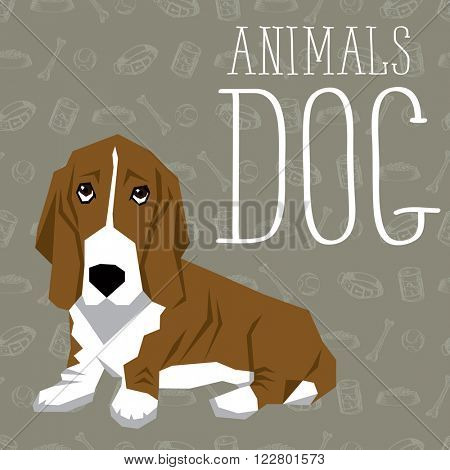 Vector geometric dogs collection with seamless background. Basset Hound