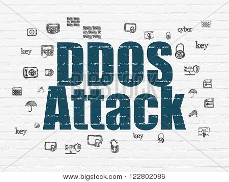 Protection concept: DDOS Attack on wall background