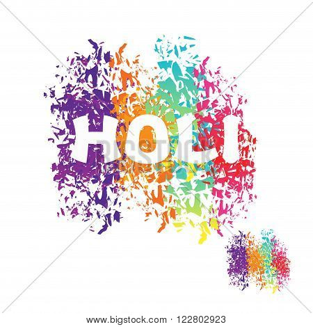 Holi Celebration. Color Stain From Brush. Logo For Indian Holi Holiday