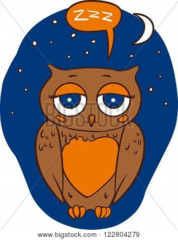 Sleepy Brown Owl in the Night Sky. Vector Print Isolated on a White Background