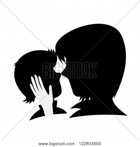 Lovin' mommy collection - Silhouette of a caring mother caresses her son's head (isolated on white).