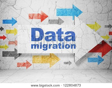 Information concept: arrow with Data Migration on grunge wall background